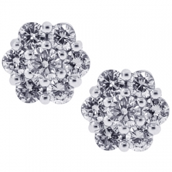 Womens Diamond Cluster Stud Earrings 18K White Gold 0.80 ct 7 mm