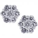 18K White Gold 0.80 ct Diamond Cluster Womens Stud Earrings
