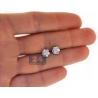 Womens Diamond Cluster Stud Earrings 18K White Gold 0.80 ct 7 mm