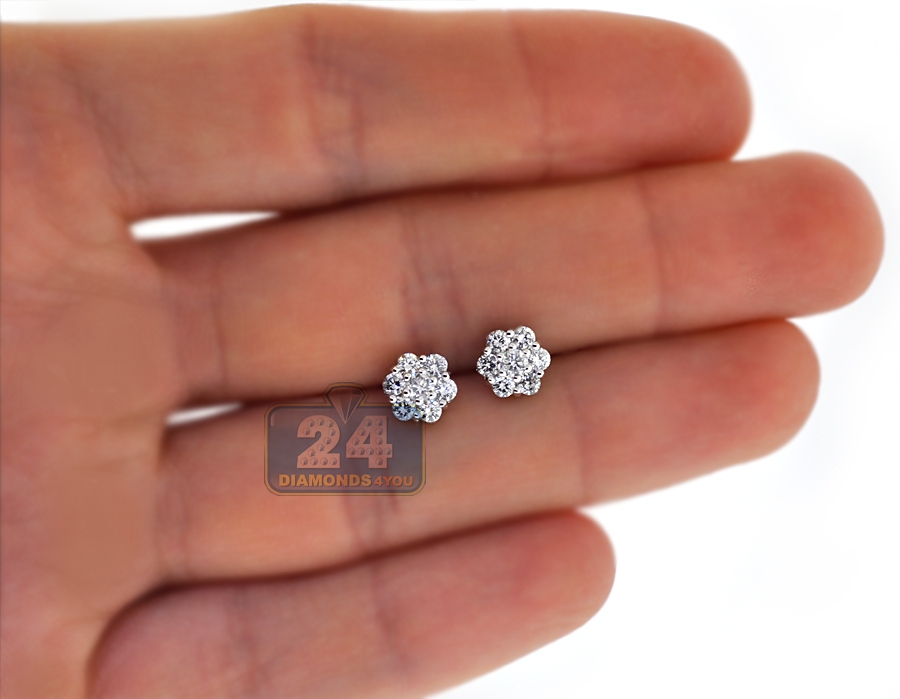 womens diamond cluster stud earrings 18k white gold 080