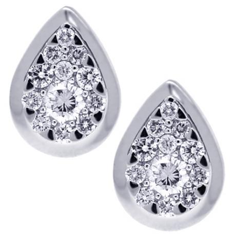 Womens Diamond Pear Shape Stud Earrings 18K White Gold 0.70