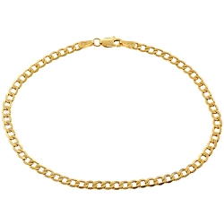 Real Italian 10K Yellow Gold Flat Cuban Link Mens Bracelet 3mm 8""