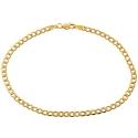 10K Yellow Gold Flat Cuban Link Mens Bracelet 3 mm 8 Inches