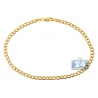 "Real Italian 10K Yellow Gold Flat Cuban Link Mens Bracelet 3mm 8"""