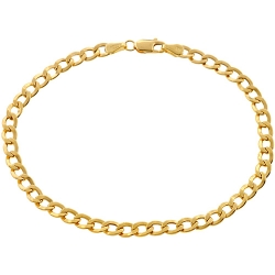 Real Italian 10K Yellow Gold Flat Cuban Link Mens Bracelet 4mm 8""