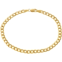 10K Yellow Gold Flat Cuban Link Mens Bracelet 4 mm 8 Inches