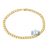 "Real Italian 10K Yellow Gold Flat Cuban Link Mens Bracelet 4mm 8"""