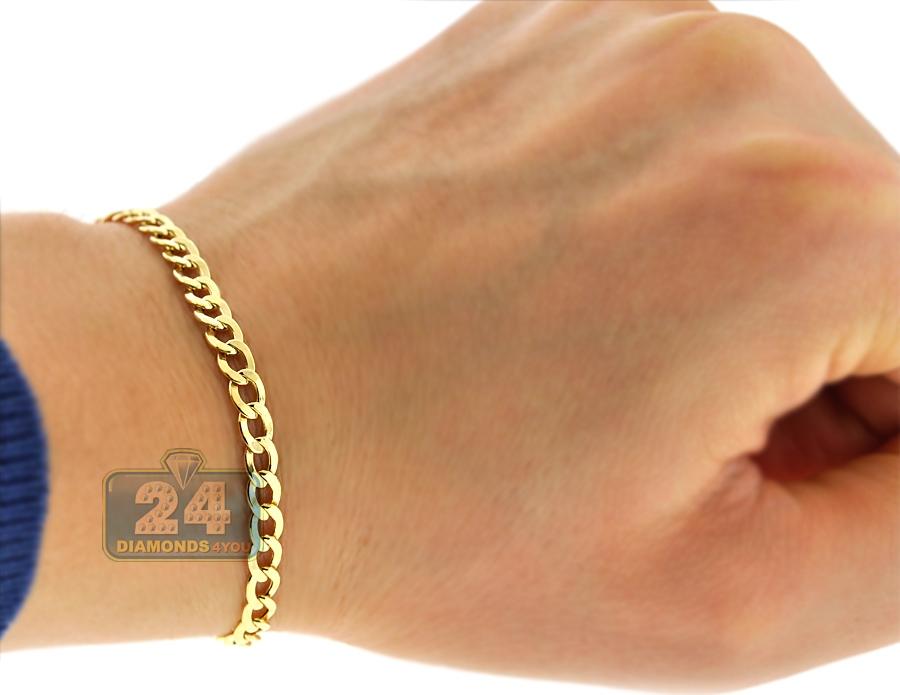 Real Italian 10k Yellow Gold Flat Cuban Link Mens Bracelet