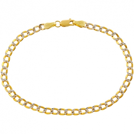 "10K Yellow Gold Cuban Diamond Cut Link Womens Bracelet 3mm 7"""