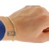 "Real 10K Yellow Gold Cuban Diamond Cut Mens Bracelet 3.5mm 8"""
