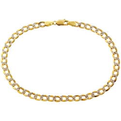 Real 10K Yellow Gold Cuban Diamond Cut Mens Bracelet 4mm 8.25""