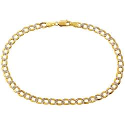 10K Yellow Gold Cuban Diamond Cut Mens Bracelet 4 mm 8 1/4 Inch
