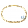 "Real 10K Yellow Gold Cuban Diamond Cut Mens Bracelet 4mm 8.25"""