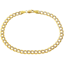 Real 10K Yellow Gold Cuban Diamond Cut Mens Bracelet 5mm 8.5""