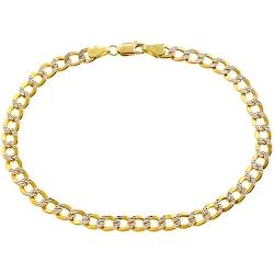 10K Yellow Gold Cuban Diamond Cut Mens Bracelet 5 mm 8 1/2 Inch