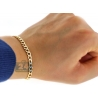 "Real 10K Yellow Gold Cuban Diamond Cut Mens Bracelet 5mm 8.5"""