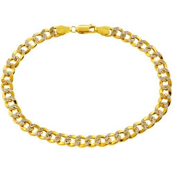 Real 10K Yellow Gold Cuban Diamond Cut Link Mens Bracelet 6mm 9""