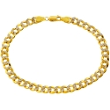 10K Yellow Gold Cuban Diamond Cut Mens Bracelet 6 mm 9 Inches