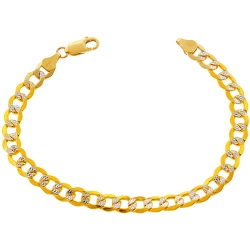 10K Yellow Gold Flat Cuban Diamond Cut Mens Bracelet 7mm 8.5""
