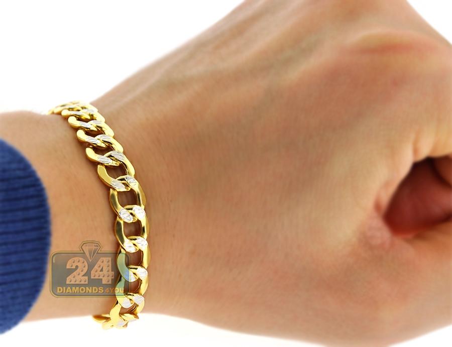 Real 10k Yellow Gold Cuban Diamond Cut Link Mens Bracelet
