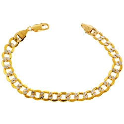 Real 10K Yellow Gold Cuban Diamond Cut Link Mens Bracelet 9mm 9""