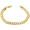 10K Yellow Gold Cuban Diamond Cut Mens Bracelet 9 mm 9 Inches