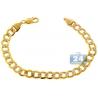 "Real 10K Yellow Gold Cuban Diamond Cut Link Mens Bracelet 9mm 9"""