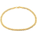 10K Yellow Gold Anchor Link Mens Bracelet 3 mm 8 Inches