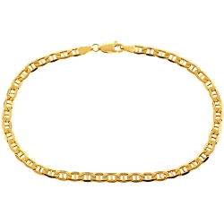 10K Yellow Gold Anchor Link Mens Bracelet 4 mm 8.5 Inches