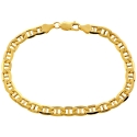 10K Yellow Gold Anchor Link Mens Bracelet 6 mm 8 1/2 Inches