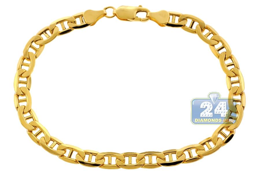 Real 10k Yellow Gold Mariner Anchor Link Mens Bracelet 6mm 8 5 Quot