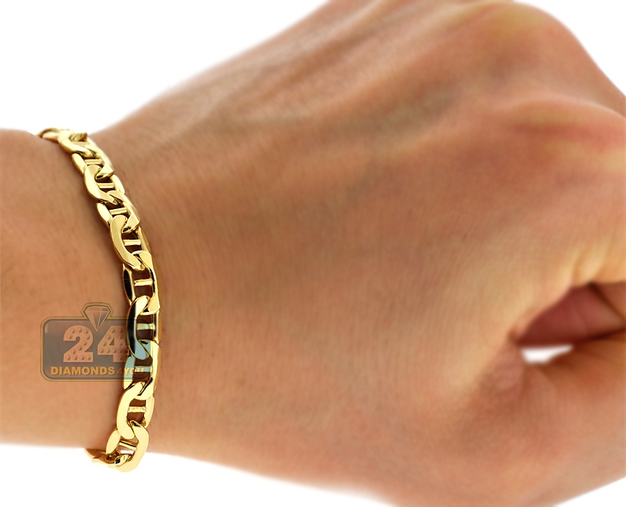 10k yellow gold anchor link mens bracelet 6 mm 8 5 inches