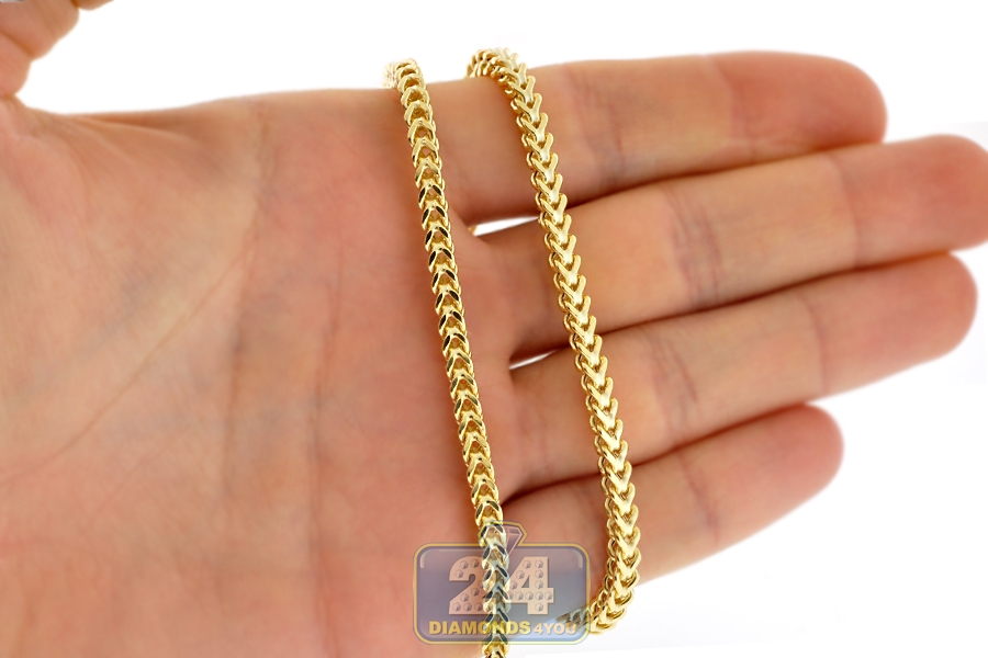 Italian 10k Yellow Gold Hollow Franco Link Mens Chain 3 5 Mm