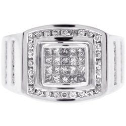 Mens Princess Diamond Pinky Ring 14K White Gold 1.01 Carat