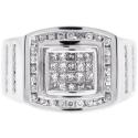 14K White Gold 1.01 ct Princess Diamond Mens Ring