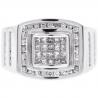 Mens Princess Diamond Pinky Ring 14K White Gold 1.01 Carat