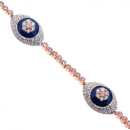 """Womens Diamond Evil Eye Bracelet 14K Rose Gold 3.25 ct 7.25"""""""