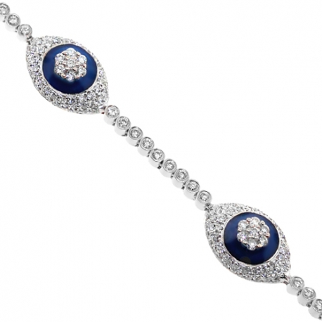 Womens Diamond Evil Eye Bracelet 14K White Gold 3.25 ct 7.25""