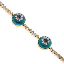14K Yellow Gold 2.35 ct Diamond Evil Eye Womens Bracelet