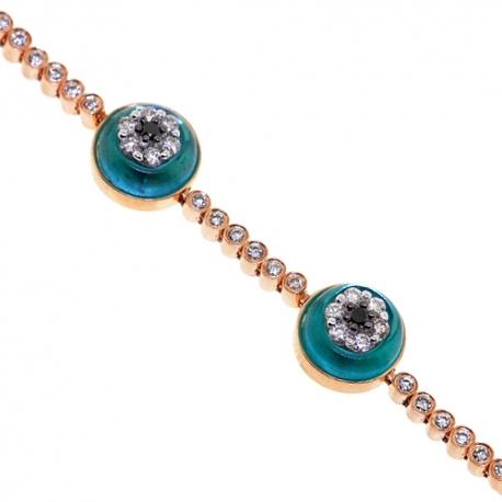 """Womens Diamond Evil Eye Bracelet 14K Rose Gold 2.35 ct 7.25"""""""