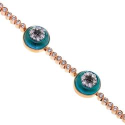 14K Rose Gold 2.35 ct Diamond Evil Eye Womens Bracelet