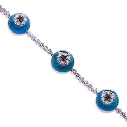 14K White Gold 2.35 ct Diamond Evil Eye Womens Bracelet 7.25 Inches