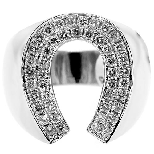 6843a2ad7720c 14K White Gold 1.05 ct Diamond Horseshoe Mens Ring