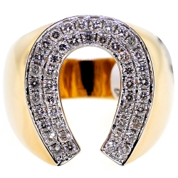 14K Yellow Gold 1.06 ct Diamond Mens Horseshoe Ring