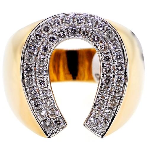 Diamond Horseshoe Luck Ring 14K Yellow Gold 1 06 ct