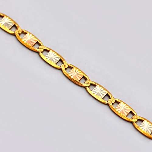 Italian 14K Three Tone Gold Mariner Link Womens Chain 3 mm 0fe1c60e31
