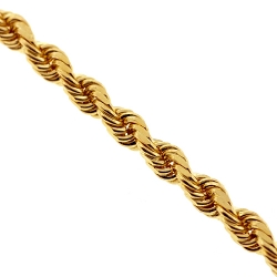 Italian 10K Yellow Gold Solid Rope Mens Chain 4.5 mm