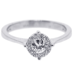 18K White Gold 0.39 ct Diamond Cluster Womens Engagement Ring