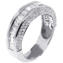 14K White Gold 1.68 ct Baguette Diamond Womens Wedding Ring