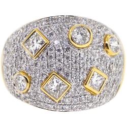 14K Yellow Gold 2.26 ct Diamond Pave Womens Geometry Ring